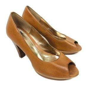 Sofft Tan Leather Peep Toe Wood Block Heels